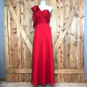 Moonlight Red Bridesmaid Formal Prom Dress Gown